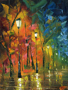 Night Lamp Painting Posters - Night in the Park Poster by Ash Hussein