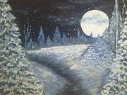 Snowy Night Metal Prints - Night  Metal Print by Irina Astley