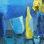 Wine Bottle Mixed Media - Night Kitchen by Laurie Breen