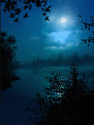 Moonlight Digital Art Posters - Night Lake Poster by Robert Foster