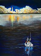 Coast Guard Painting Posters - Night Launch Poster by Dorothy Riley