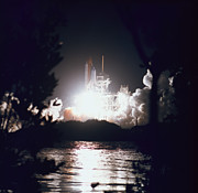 Space Shuttle Photo Prints - Night Launch Of The Space Shuttle Print by Stockbyte