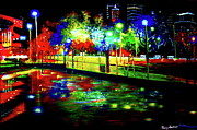 Famous Acrylic Landscape Paintings - Night Light Reflections by Romy Galicia