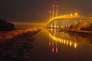Florida Bridges Prints - Night Lights Print by Debra and Dave Vanderlaan