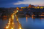 Vltava River Boat Prints - Night Lights Of Charles Bridge Or Print by Trish Punch