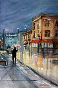 Streetscape Painting Originals - Night Lights by Ryan Radke