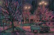 Street Pastels Originals - Night Lot by Donald Maier
