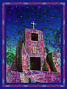 Churchs Framed Prints - Night Magic San Miguel Mission Framed Print by Kurt Van Wagner
