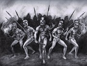 Fighters Drawings Prints - Night Marchers Print by Amiri Bennett