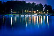 Business-travel Prints - Night Marina Print by Gert Lavsen
