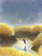 Heron Pastels - Night Marsh by Jackie Irwin