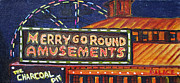 Asbury Park Amusements Painting Originals - Night Merrys by Patricia Arroyo