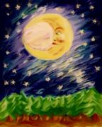 Man In The Moon Paintings - Night Moon by Shelley Bain