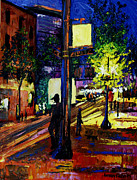 Cityscape Mixed Media Posters - Night Moves Poster by Anthony Falbo