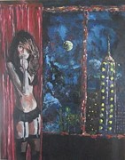 Night Out Painting Originals - Night of Reflection by Miguel MesaArt