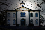 School House Posters - Night of The Birds . 7D12487 Poster by Wingsdomain Art and Photography