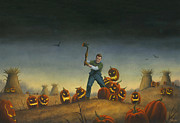 Horror Paintings - Night of the Jack-O-Lanterns by Stacy Drum
