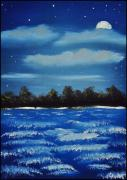 Tim Painting Originals - Night on the Bay by Tim Webster