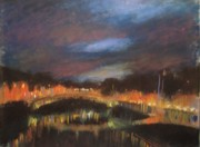 Dublin Pastels - Night on the River Liffy by Emily MaCoy