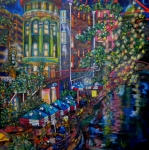 Riverwalk Paintings - Night on the River by Patti Schermerhorn