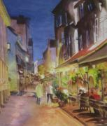 Night Out Paintings - Night on the Town by Linda Hester