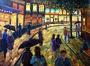Nature Scene Paintings - Night on the town by Richard T Pranke