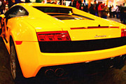 Autos Digital Art Prints - Night Out On The Town With My Yellow Lamborghini Print by Wingsdomain Art and Photography