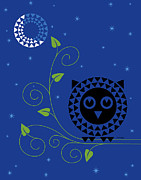Stylized Art Prints - Night Owl Print by Ron Magnes