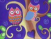 Owl Painting Metal Prints - Night Owls in Love Metal Print by Lynnda Rakos