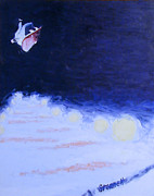 Snowboarding Paintings - Night Park Number One by Matthew Stennett
