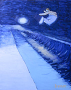 Snowboarding Paintings - Night Park Number Three by Matthew Stennett