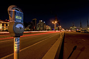 Harbor Photos - Night Parking Meter by Peter Tellone