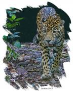 Jaguar Art Posters - Night Prowler Poster by Larry Linton