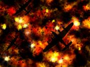 Fire Digital Art - Night Raid - Lancaster Bomber by Michael Tompsett