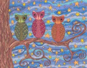 Owls Drawings - Night Rainbow by Pamela Schiermeyer