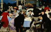High Society Painting Posters - Night Restaurant Poster by MG Slepyan