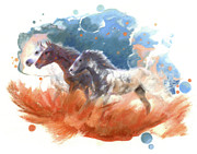 Science Fiction Pastels - Night Ride - Mustangs by Janice Lawrence