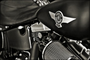 Harley Davidson Rally Prints - Night Rider-Black White Print by Lucky LaRue