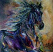 Equines Metal Prints - Night Rider Metal Print by Diane Williams