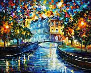 City Park Painting Originals - Night River by Leonid Afremov