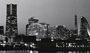 Black And White Photography Metal Prints - Night Scene Of Yokohama Metal Print by Snap Shooter jp