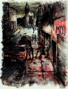 City Streets Drawings Prints - Night Shift Print by Rachel Christine Nowicki