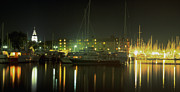 Rowboat Framed Prints Posters - Night Shot of Downtown Annapolis Poster by Paul Pobiak