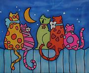 Cats Tapestries - Textiles Prints - Night singers   Print by Tatiana  Antsiferova
