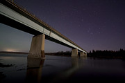Azure Prints - Night Sky Over A Bridge On A River Print by Zoltan Kenwell
