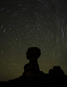 Rock Posters - Night Sky over Balanced Rock Poster by Andrew Soundarajan