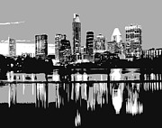 Austin Digital Art Metal Prints - Night Skyline BW3 Metal Print by Scott Kelley