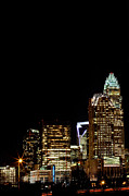 Mecklenburg County Prints - Night skyline Charlotte Print by Patrick Schneider