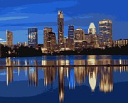 Austin Artist Digital Art Posters - Night Skyline Color 16 Poster by Scott Kelley