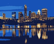 Austin Artist Digital Art Posters - Night Skyline Color 6 Poster by Scott Kelley